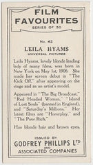 Leila Hyams 1934 Godfrey Phillips Film Favourites Trading Card #42
