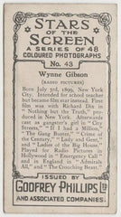 Wynne Gibson 1936 Godfrey Phillips Stars of the Screen Trading Card #43
