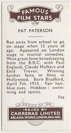 Pat Paterson 1935 Carreras Famous Film Stars Trading Card #46