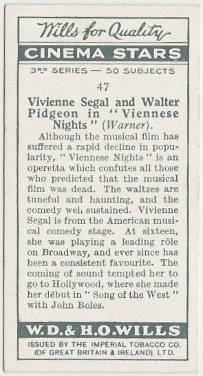 Walter Pidgeon + Vivienne Segal 1931 Wills Cinema Stars Trading Card #47
