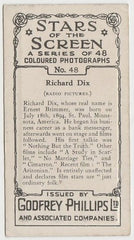 Richard Dix 1936 Godfrey Phillips Stars of the Screen Trading Card #48