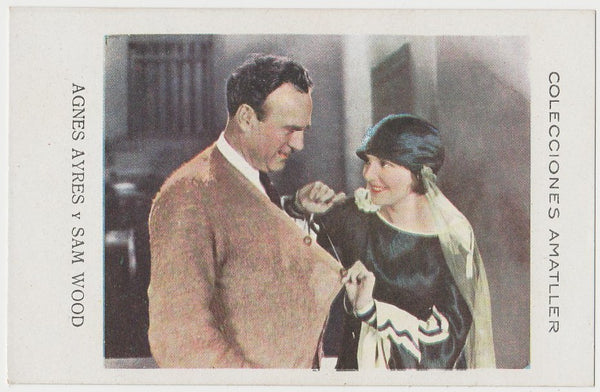 Agnes Ayres + Sam Wood 1920s Chocolate Amatller Trading Card from Spain #LL-50-98