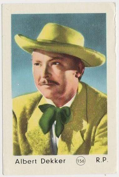 Albert Dekker 1952 Maple Leaf Gum Film Star Paper Stock Trading Card #156