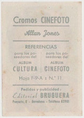 Allan Jones 1930s Editorial Bruguera Cinefoto Paper Stock Trading Card #11