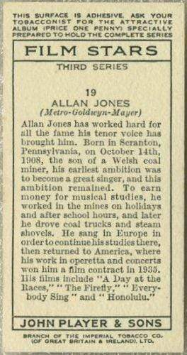 Allan Jones 1938 John Player Film Stars Tobacco Card 3rd Series #19