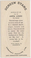 Anita Louise 1936 Godfrey Phillips Screen Stars Trading Card #6