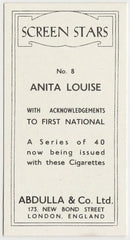 Anita Louise 1939 Abdulla Screen Stars Trading Card #8