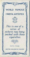 Anita Page 1933 BAT World Famous Cinema Artistes Tobacco Card #6