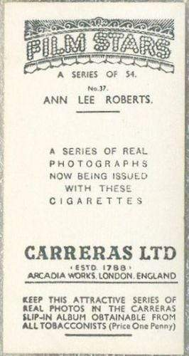 Ann Lee Roberts 1937 Carreras Film Stars Tobacco Card #37