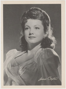 Anne Baxter 1940s Paper Stock Trading Card - Film Frame Design