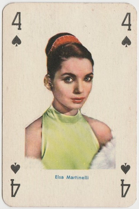 Elsa Martinelli Vintage 1950s Playing Card of Film Star - Orange Border Back