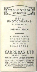 Barbara Beach 1939 Carreras Film & Stage Beauties Tobacco Card #5