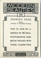 Barbara Read 1938 BAT Modern Beauties XL Tobacco Card Series 5 #26