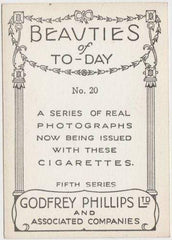Barbara Read 1938 Godfrey Phillips Beauties of To-Day XL Tobacco Card S5 #20