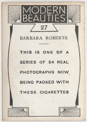Barbara Roberts 1930s BAT Modern Beauties MD Trading Card Series 1 #27