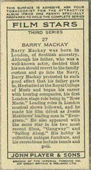 Barry MacKay 1938 John Player Film Stars Tobacco Card 3rd Series #27