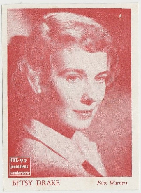 Betsy Drake rare 1950s FICK Journalen Paper Stock Trading Card from Sweden