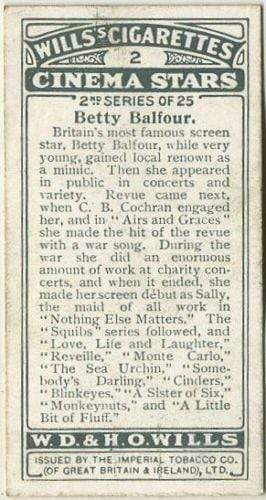 Betty Balfour 1928 Wills Cinema Stars Tobacco Card Series 2 #2