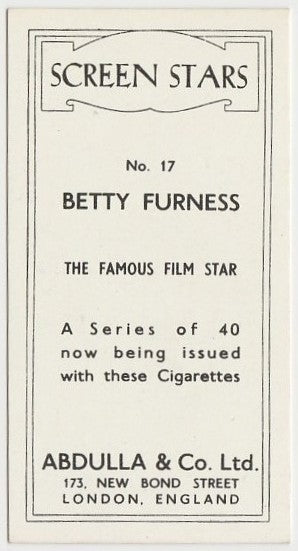 Betty Furness 1939 Abdulla Screen Stars Trading Card #17