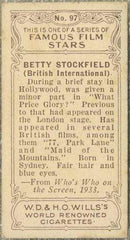 Betty Stockfield 1934 Wills Famous Film Stars Tobacco Card #97 - Standard Size