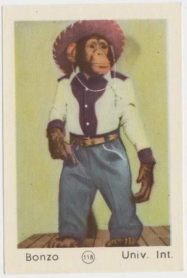 BONZO the CHIMP 1952 Maple Leaf Gum Film Star Paper Stock Trading Card #118
