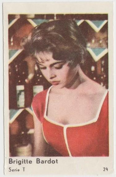 Brigitte Bardot 1958 Film Star PAPER STOCK Dutch Gum Trading Card #24