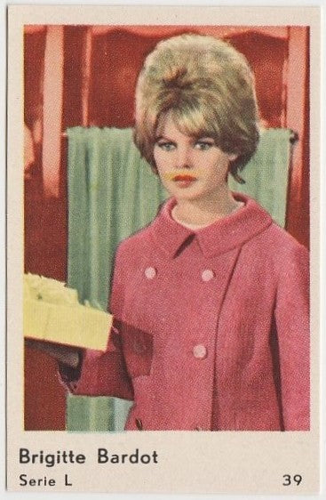 Brigitte Bardot 1960 Film Star Paper Stock Dutch Gum Trading Card #L-39