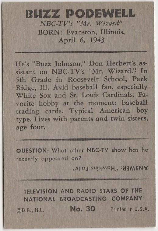 Buzz Podewell 1953 BOWMAN Television and Radio Stars of NBC Trading Card #30