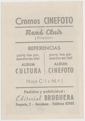 Rene Clair 1930s Editorial Bruguera Cinefoto Paper Stock Trading Card #1