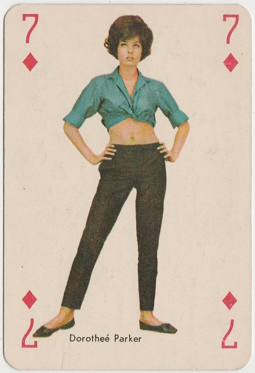 Dorothee Parker circa 1960 Vintage Playing Card of Film Star - Blue Back