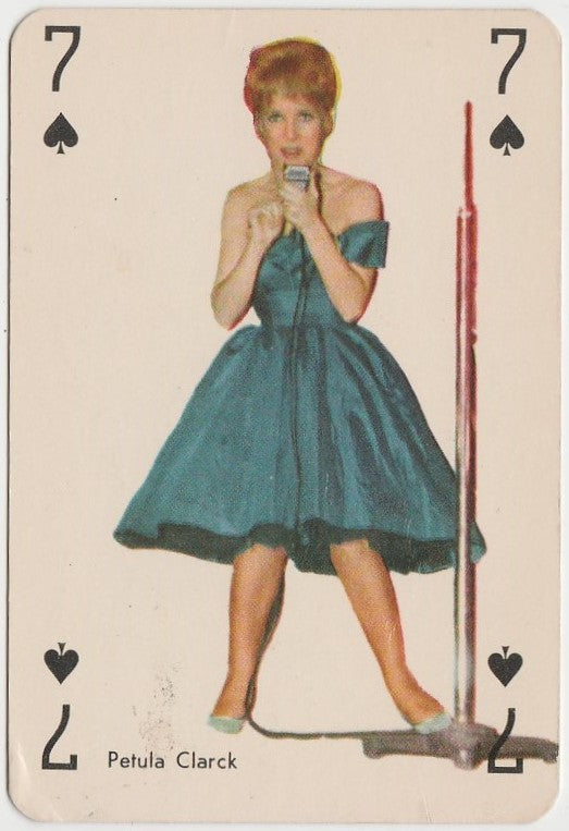 Petula Clark circa 1960 Vintage Playing Card of Singer Film Star - Blue Back