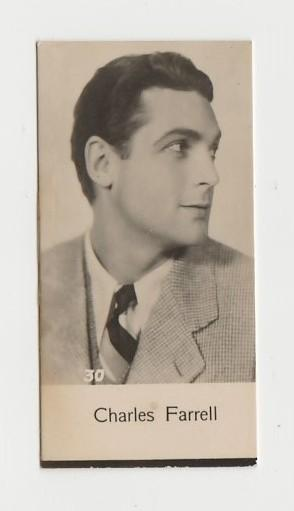 Charles Farrell 1930s Trading Card #30 Film Star Biscuit Card Mystery Issue