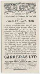 Charles Laughton 1936 Carreras Film Stars by Desmond Trading Card #11