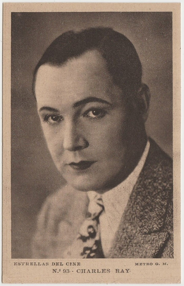 CHARLES RAY Vintage 1930s Estrellas del Cine POSTCARD from Spain #93