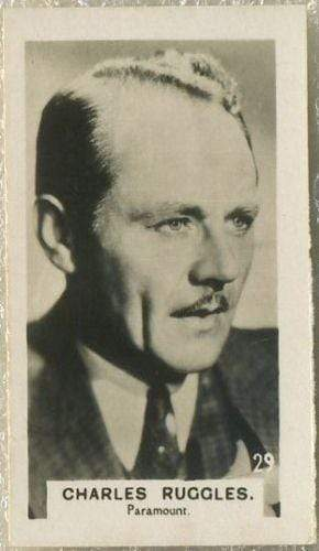 Charles Ruggles 1934 Bridgewater Film Stars Small Trading Card - Series 3 #29