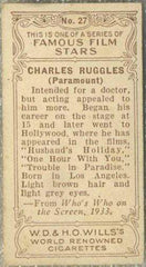 Charles Ruggles 1934 Wills Famous Film Stars Tobacco Card #27 - Standard Size