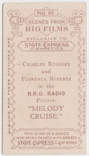 Charles Ruggles 1935 Ardath SCENES FROM BIG FILMS Tobacco Card #86 MELODY CRUISE