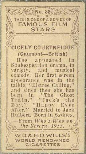 Cicely Courtneidge 1934 Wills Famous Film Stars Tobacco Card #88 - Standard Size