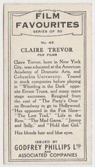 Claire Trevor 1934 Godfrey Phillips Film Favourites Tobacco Card #43