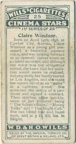Claire Windsor 1928 Wills Cinema Stars Tobacco Card Series 1 #25