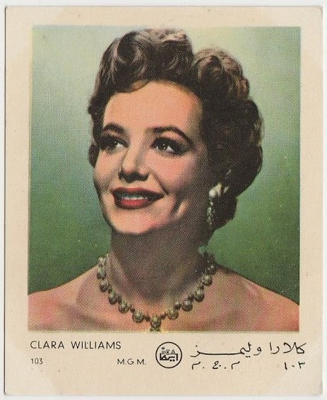 Clara Williams 1950s Egyptian ICA Artists Gum Film Stars Trading Card #103
