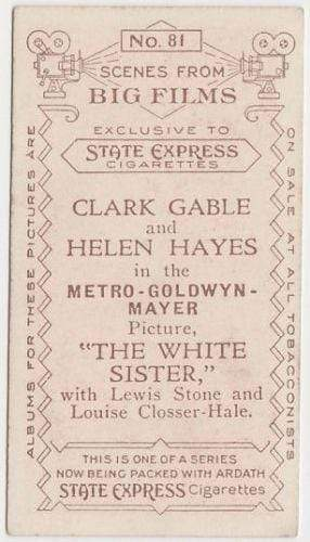 Clark Gable + Helen Hayes 1935 Ardath SCENES FROM BIG FILMS Tobacco Card #81