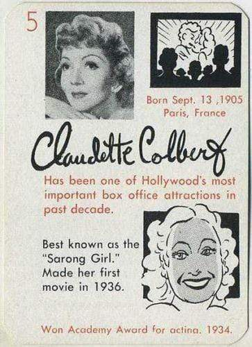 Claudette Colbert 1945 Leister Autographs Game Card Trading Card EX-MT