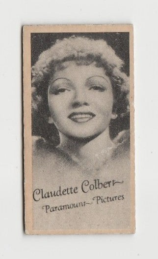 Claudette Colbert 1937 Peerless Cloudy Weight Machine Trading Card