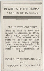 Claudette Colbert 1939 Rothmans Beauties of the Cinema Movie Star Trading Card