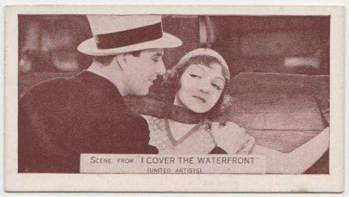 Claudette Colbert + Ben Lyon 1935 Ardath SCENES FROM BIG FILMS Tobacco Card #89