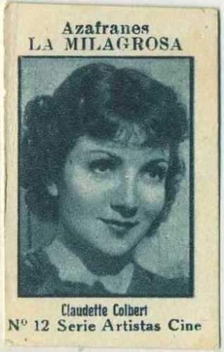 Claudette Colbert Vintage Movie Star Paper Stock Trading Card from Spain #12