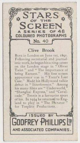 Clive Brook 1936 Godfrey Phillips Stars of the Screen Tobacco Card #40