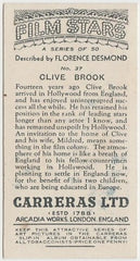 Clive Brook 1936 Carreras Film Stars by Desmond Trading Card #37
