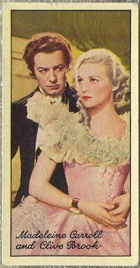 Clive Brook + Madeleine Carroll 1935 Carreras Famous Film Stars Tobacco Card #77